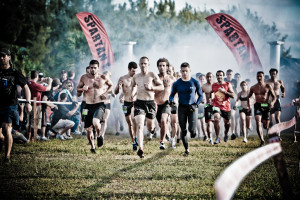 Starting line at the spartan race by Brent Doscher via Wikimedia commons.