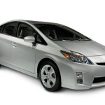 Silver Toyota Prius Hybrid Car on angle