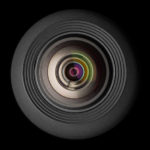 mobile camera lens on black background