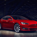 red tesla model s electric car