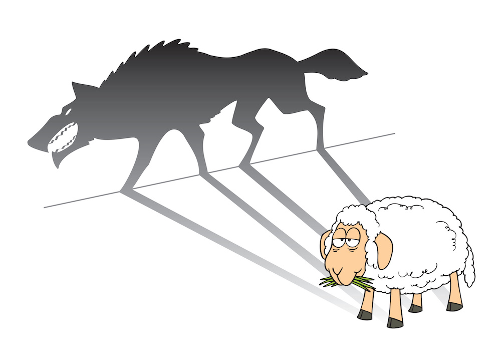 A sheep that is throwing a shadow of a wolf