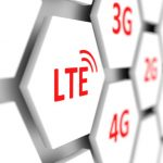 White hexagon tiles with communications protocol names including LTE, 4G, 3G and 2G all in red letters