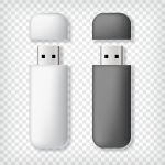 two small USB memory sticks on a transparent background. Left stick is white, right stick is gray.