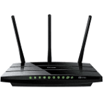 black router with 3 antennas pointing up and green lights on face